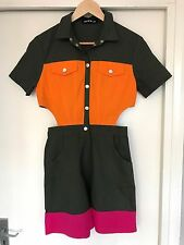 HOUSE OF HOLLAND JUMPSUIT / PLAYSUIT SIZE 8 KHAKI, ORANGE & PINK