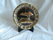 "1 Egyptian Brass Decor Wavy Plate Pharaoh Pyramid Sphinx Black 3D 8.5"" Diameter"