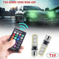 2xT10 5050 6SMD RGB LED Car Interior Wedge Side Light Strobe Lamp Remote Control