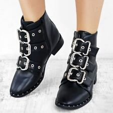 Womens Black Punk Biker Flat Ankle Boots Winter Strappy Studded Ladies New Size