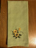 Embroidered Green Kitchen Towel w/ Sunflower Design on 100% Cotton Waffle Weave