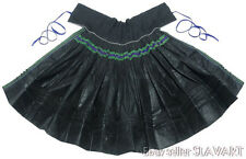 ANTIQUE embroidered peasant apron Slovak folk costume black polished cotton old