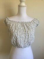 New! brandy melville crop white/black polka dots off shoulder rio top NWT XS/S