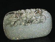 Sparkling Clutch Silver Evening Bag made w Swarovski Crystal Lace Bridal Prom