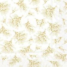 Paper Napkins Mistletoe White Gold Disposable Festive Lunch Party Serviettes