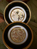 "Set of 2 Vintage ""The Art of Chokin"" Collectible 24KT Gold Rim Plates Japan 6"""