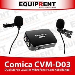 Comica CVM-D03 Dual Stereo Lavalier Mikrofon Kit (450cm Kabel) mit 3.5mm (EQH72)