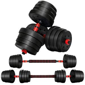 Haltère Musculation Poids Ajustable Disque Barre Extension Réglable 2 en 1 30Kg