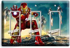 IRONMAN SUPERHERO TRIPLE GFI LIGHT SWITCH WALL PLATE COVER BOYS BEDROOM IRON MAN