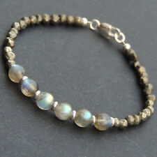 Gold Pyrite Labradorite Sterling Silver Bracelet Mens Women Clasp DIY-KAREN 536