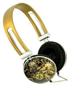 Moki Graffiti GOLD DOME HEADPHONES - NEW earphones ear/head phones music/mp3