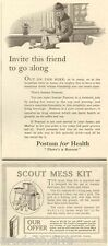 1920s antique BSA Boy SCOUTS of AMERICA Knapsack MESS KIT Camping POSTUM Ads