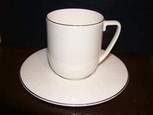 6 Wedgwood Vera Wang Modern Graphic Tea Cups & Saucers.
