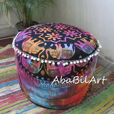 "22"" Large Ottoman Pouf Cover Indian Mandala Elephant Design Foot Stool Covers"