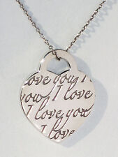 Tiffany & Co I LOVE YOU Charm Sterling Silver NOTES Pendant Necklace