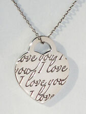 Tiffany & Co I LOVE YOU Small Charm Sterling Silver NOTES Pendant Necklace