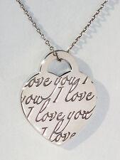 Tiffany & Co I LOVE YOU CIONDOLO STERLING argento frase Collana con ciondolo