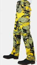 New Mens Colour yellow Camouflage Camo Cargo Combats Pants Trousers 28-44 Waist