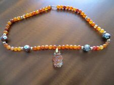 Antique Chinese CARNELIAN AGATE Bead/Cloisonne beads/gold bead Necklace 14k Gold