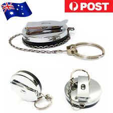Heavy Duty Metal Chain Retractable Pull Key Ring Belt Clip Steel Id Card Holder