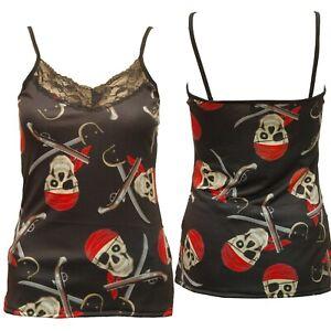 STRAPPY Gothic Vest Top SKULL PIRATE Alternative Goth Punk SIZE 8-10 HALLOWEEN