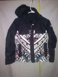🌄686 Youth Ski Snowboard Jacket Black Print Warmest Thermal Rating Sz Small🌄