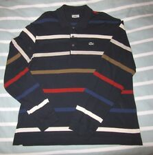 Lacoste Striped Long Sleeve Polo Shirt Sz 7  XL Navy Blue with Stripes Cotton