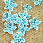 40pcs Rhinestone Satin Ribbon Flowers Bows Sewing Appliques Craft Wedding DIY