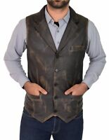 Mens Real Rub Off Vintage Leather Waistcoat Collared Gilet Classic Western Vest