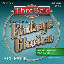 6 Pack ThroBak Vintage Choice Nickel Wound Electric Guitar Strings X-Light 9-42