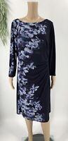 Lauren Ralph Lauren Women's Sheath Dress Plus Size 14W Floral Ruched Jersey Knit