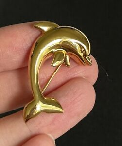 """NAPIER Gold Tone Dolphin Fish Brooch SIGNED 1 3/4"""" M05"""