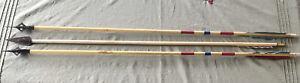 "Vintage Broadhead Wood Feather Archery Arrows (3) 32"""