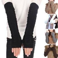 Ladies Women Winter Wrist Arm Hand Warmer Knitted Long Fingerless Gloves