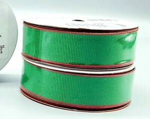 Wired Ribbon~Set of 4 Green Red Christmas 7/8 inch x 9ft ~Wreath~Gift~Craft~Bow