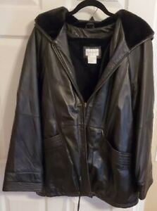 CHARLES KLEIN LARGE 100% GENUINE LEATHER BROWN COAT (NEEDS NEW ZIPPER)
