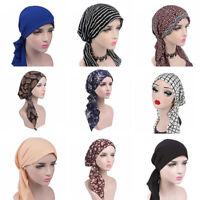 Fashion Head Scarf Turban Pre-Tied Headwear Chemo Hat Tichel for Cancer mmj