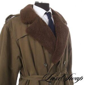 WILD Vintage Polo Ralph Lauren Vintage Olive Belted Trench Shearling Clr Coat L