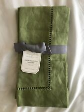 POTTERY BARN MONIQUE LHUILLIER LINEN HEMSTITCH SET OF 4 NAPKINS GREEN NWT