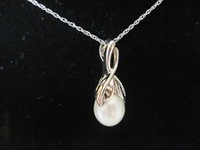 "Beautiful Designer PAJ Sterling 9 mm FW White Pearl Pendant 18"" Necklace New 698"