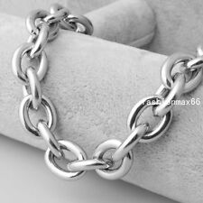 Mens Jewelry Heavy 15mm Silver Tone Stainless Steel Cool O Link Chain Necklace