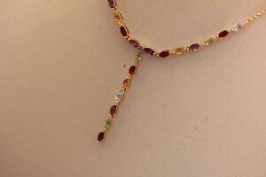 Kette Sterling Silber 925 vergoldet Granat Blautopas Citrin Peridot Amethyst