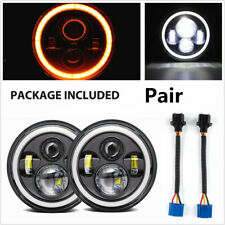 2Pcs 7 Inch Round LED Headlights Halo DRL Angle eyes Turn Signal Light For JEEP