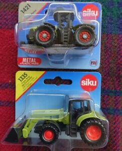 SIKU 1/87 Farming - 2x CLAAS tractors - 1335 Ares & front loader + 1421 Xerion