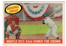 1959 Topps #461 Mickey Mantle Baseball Thrills - Yankees, Excellent Condition