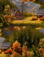 Digital Printed Fabric - Lake Lodge Cabin Barn Scene - Timeless Treasures YARD
