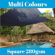 Square Shade Sail 280GSM Multi Sizes SAND BLACK GREY 95% UV 280GSM Sun Sails