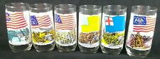 """1973 Lot of 6 Heritage Series 6.25""""x3"""" Tall Drinking Glass Coca-Cola Great Shape"""