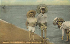 early 1900s colour postcard ! a happy trio on the barry sands .whitmore bay