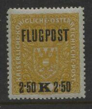 Austria 1918 2.50k on 3k Airmail Sc #C3c P12½ x 11½ Mnh Cv $160